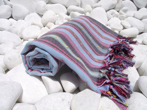 High Quality Hand Woven Turkish Cotton Bath,Beach,Pool,Spa,Yoga,Travel Towel or Sarong-Colorful more Blue and Black Stripes