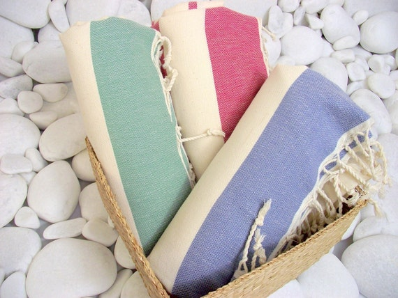 Set of 3-High Quality Hand Woven Turkish Cotton Bath,Beach,Pool,Spa,Yoga,Travel Towels or Sarong-Natural Cream and Green and Red and Blue