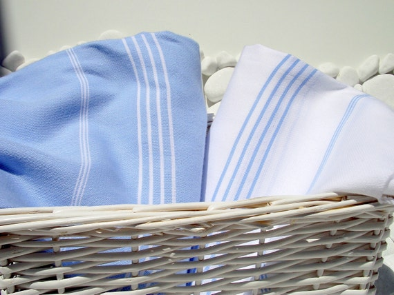 Set of 2-High Quality Hand Woven Turkish Cotton Bath,Beach,Pool,Spa,Yoga,Travel Towels or Sarong-Pale Blue and White Stripes