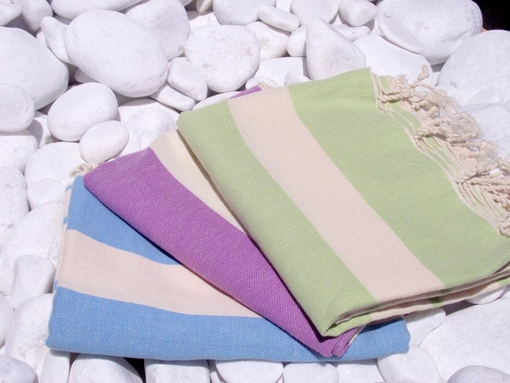 Set of 3-High Quality Hand Woven Turkish Cotton Bath,Beach,Pool,Spa,Yoga Towel or Sarong-Natural Cream and Purple,Lime Green,Turquoise