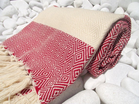 High Quality Hand-Woven Turkish Cotton Bath,Beach,Pool,Spa,Yoga,Travel Towel or Sarong-Dark Red and Natural Cream,Ivory