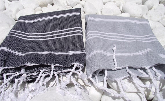 High Quality- Set of 2- Hand Woven Turkish Cotton Hand ,Head,Tea,Dish,Kitchen Towel or Unisex Neck Warmer-White Stripes on Grey and Black