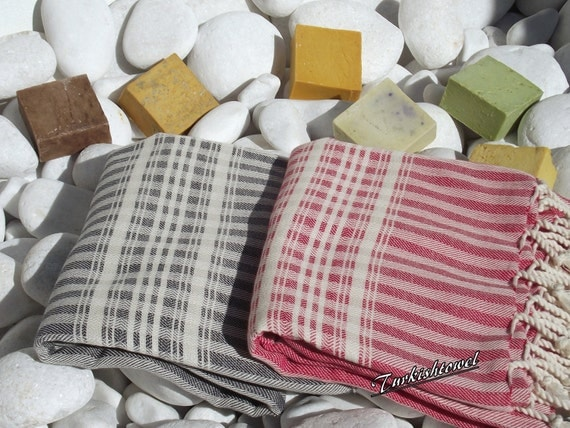 Set of 2-Soft High Quality ,Hand Woven Turkish Cotton Bath,Yoga Towel or Sarong-Black,Dark Gray,Light Gray,Red and Natural  Cream Stripes