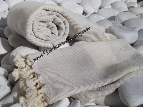 Turkish Bath Towel-High Quality Hand Woven Turkish Cotton Soft -Natural Cream and Light Gray
