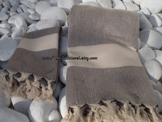 Set of 4-2 Turkish Bath Towel and 2 Turkish Hand Towel-High Quality Hand Woven Turkish Cotton Soft -Natural Cream and  Soft Brown ,Taupe
