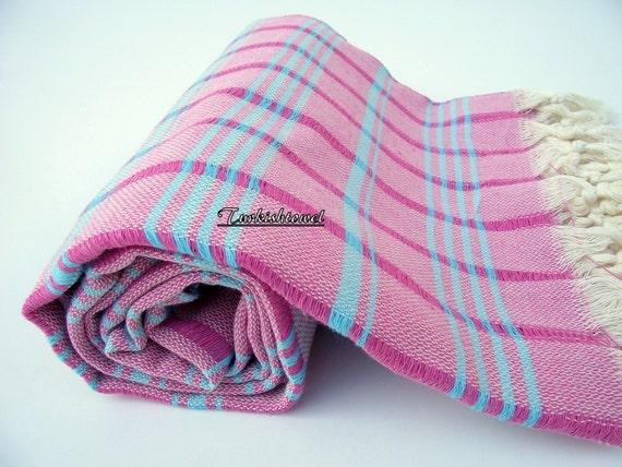 High Quality Hand Woven Turkish Cotton Bath,Beach,Pool,Spa,Yoga,Travel Towel or Sarong-Turquoise Stripes on Fuchsia,Pink Checked