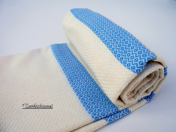 High Quality Hand Woven Turkish Cotton Bath,Beach,Pool,Spa,Yoga,Travel Towel or Sarong-Mathing Natural Cream and Turquoise