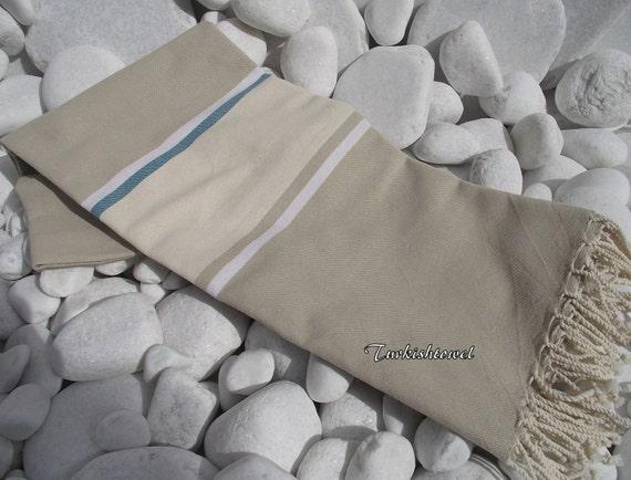 Turkishtowel-Soft,Hand Woven,Pure Cotton,Bath,Beach,Spa,Yoga,Travel Towel or Sarong, Wrap-Natural Cream,Ivory and Begie