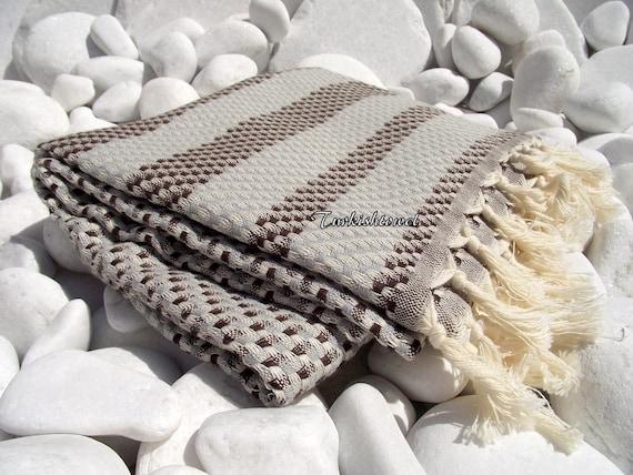 Turkishtowel-High Quality,Hand Woven,Cotton,Bath,Beach,Spa,Yoga,TravelTowel or Sarong-Mathing-Natural Cream,Grey and Brown