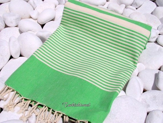 Turkishtowel-High Quality Hand Woven Turkish Cotton Bath,Beach,Pool,Spa,Yoga Towel or Sarong-Natural Cream Stripes on Grass Green