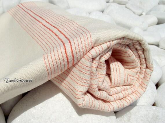 Turkishtowel-Very Soft-High Quality,Hand Woven,Bamboo,Cotton,Silk mixed,Bath,Beach,Spa Towel or Sarong-Orange Stripes on Natural Cream