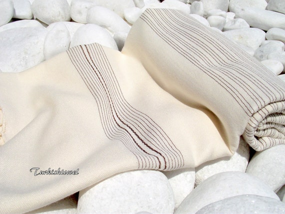 Turkishtowel-Very Soft-High Quality,Hand Woven,Bamboo,Cotton,Silk mixed,Bath,Beach,Spa Towel or Sarong-Brown Stripes on Natural Cream