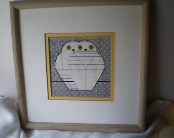 SALE Vintage Needlepoint Owl Gray and Yellow Picture