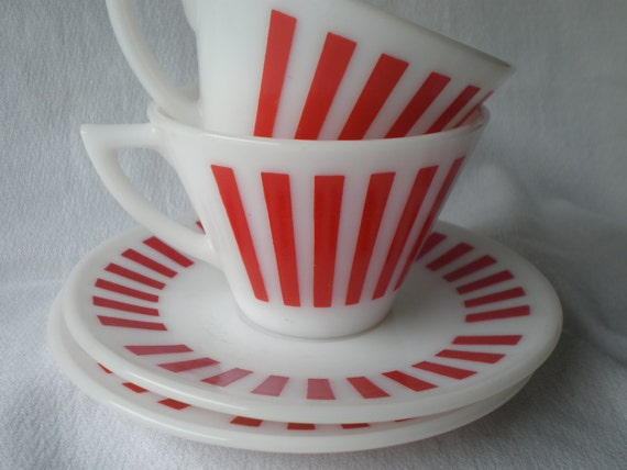 Hazel Atlas Set of 2 Vintage Red and White Striped Milk Glass Cups and Saucers