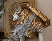 Italian Hand Carved Gold & Silver Gilt Sconces Shelves PAIR Hollywood Regency