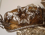 Antique French Jeweled Crown Tiara with Rare Tremble Flower