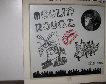 Moulin Rouge vinatge wood window artwork