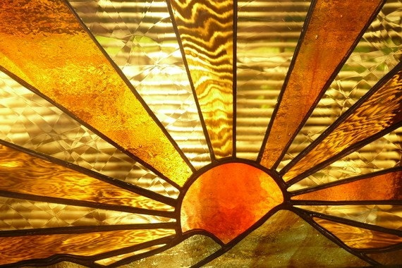Sunrise/Sunset Over Hills in Stunning Stained Glass