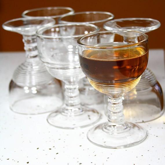 Vintage Set of Six Pressed Glass Cordial Glasses -