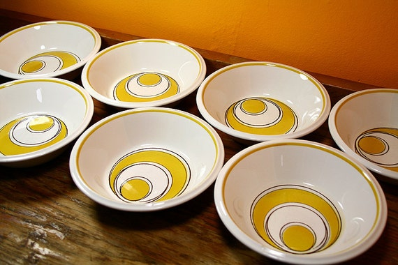Mikasa Light 'N Lively Sundance, Set of 7 Soup Bowls from 1970's