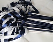 Enchanted Wedding Ribbon Wands 50 Pack IN YOUR COLORS (shown in navy blue and white) nautical theme wedding