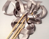 Tie the Knot - Satin Wedding Ribbon Wands - Custom Colors - Pack of 100 - Shown in Classic Silver -Traditional Wedding