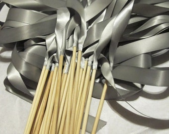 Satin Wedding Ribbon Wands - Custom Colors - Pack of 100 - Shown in Silver - Bling Wedding