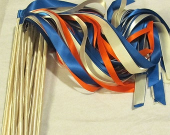 Enchanted Wedding Ribbon Wands 50 Pack IN YOUR COLORS (shown in ivory, orange and royal blue) Unique wedding ceremony exit idea