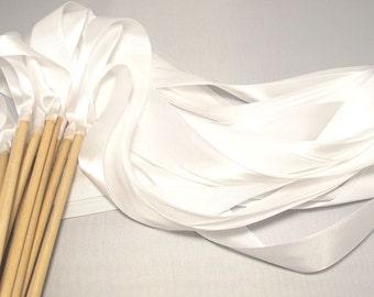 Custom Listing Satin Wedding Ribbon Wands - Custom Colors - Pack of 50 - Shown in Classic White - Fairytale Wedding