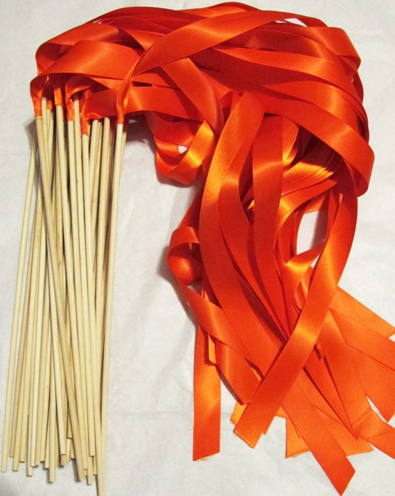 Magical Wedding Ribbon Wands 100 pack IN YOUR COLORS (shown in orange) Instead of rice, bubbles, perfect ceremony exit idea