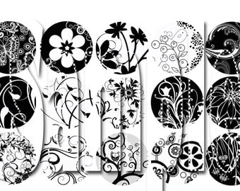 Abstract Floral Black and White Bottle Cap Images 1 inch