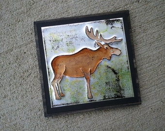 Upcycled Soda Pop Can Moose Art Tile