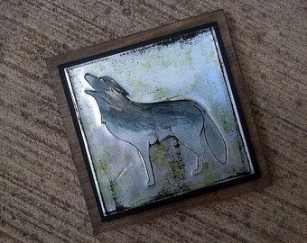 Upcycled Soda Pop Can Wolf Art Tile