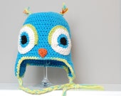 Owl Earflap hat-custom crocheted for baby or toddler