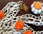 1960s Long White Enamel Chain and Tangerine Bead Necklace