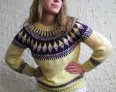 SALE Vintage Handmade Crochet Butter Yellow and Plum Sweater
