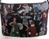SALE 1980s Fancy Ladies of Fashion Tiny Strap Tapestry Purse