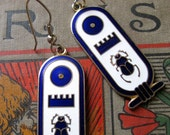 1970s Egyptian Revival Scarab Enamel Cartouche Dangle Earrings