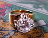 SALE Vintage SETA Oversized Glass Rhinestone Cocktail Ring