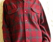 Vintage Crimson Pendleton Plaid Flannel Button Up Shirt