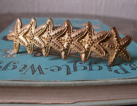 1980s Golden Starfish Barrette Made in France