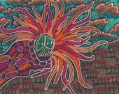 Florescent China Dragon with silver outline, 5 x 7 Print of original marker drawing, orange, pink, purple, landscape