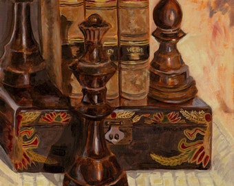 """18 1/2 x 20 1/2 print of """"Chess Pieces Still Life"""" original oil painting done in many earth tones"""