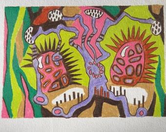 Original Colored Pencil Art, Original Drawing, Small Drawing, Abstract Art, Modern Abstract Art, Colored Pencil Drawing, Monster Art