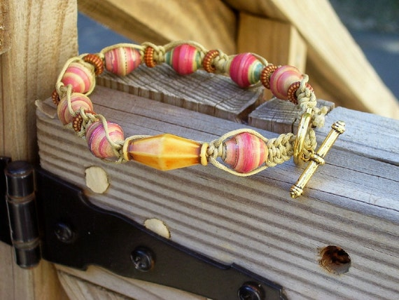 men or women's woven beaded bracelet with wood and rolled paper beads