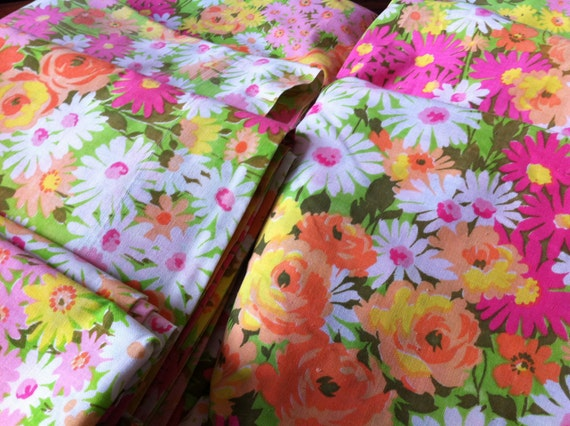 Vintage Pequot Floral Sheets - 4 Double Flat , 4 Twin Fitted