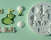 Food Grade Mold (M03) - Golf Sport Theme - Flexible Cake Decorating Mold - Reusable - The Art of Cake Decorating