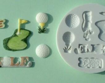 Food Grade Mold (M03) - Golf Sport Theme - Flexible Cake Decorating Mold - Reusable - The Art of Cake Decorating