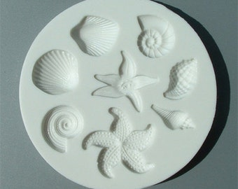 Food Grade Mold (M35) - Shells and Starfish Design - Flexible Cake Decorating Mold - Reusable - The Art of Cake Decorating