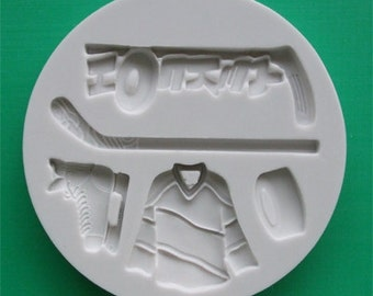 Food Grade Mold (M64) - Ice Hockey Theme Design - Flexible Cake Decorating Mold - Reusable - The Art of Cake Dressing